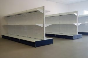 white gondola display shelving