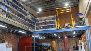 Structural-Mezzanine-Floor-with-Roll-Over-Pallet-Gate