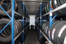 Tyre storage system holing medium sized tyres