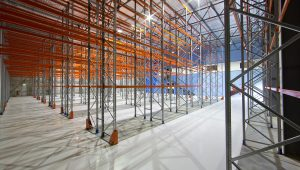 Selective Pallet Racking row in large warehouse facility