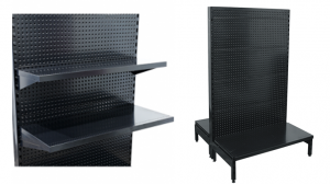 black gondola display shelving