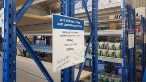 safe working load signs on shelving