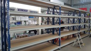 Longspan shelving system with timber shelves