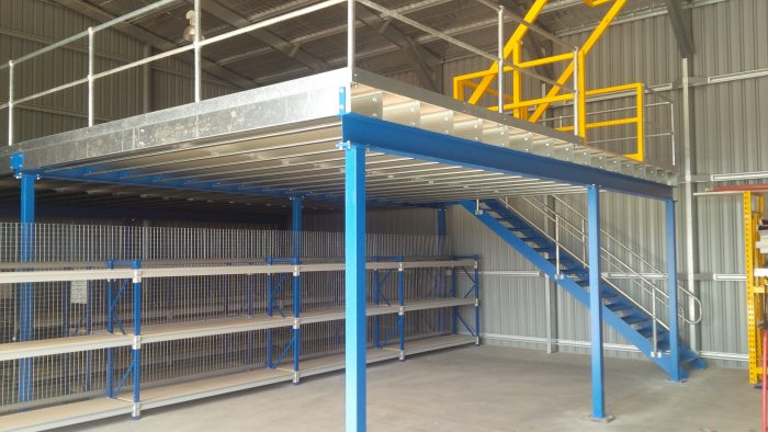 Adding a Mezzanine to increase storage space!