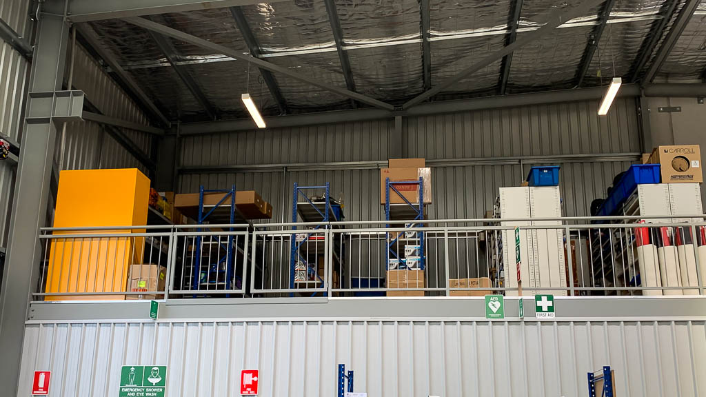Longspan Shelving storing auto parts on Mezzanine