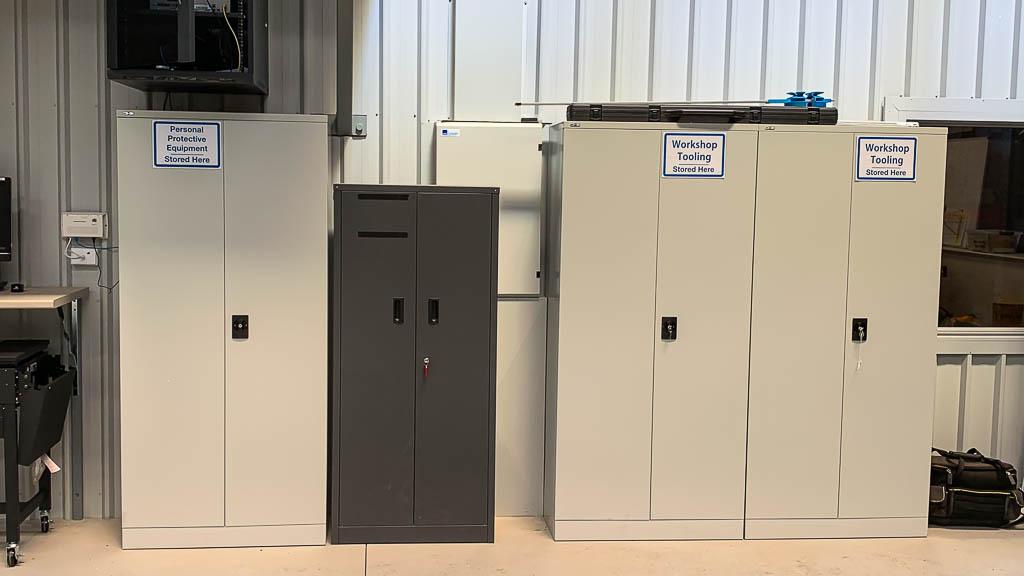 Swing door steel cabinets for PPE & Tool Storage
