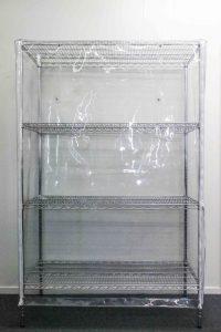 Dust Proof PVC Cover on Chrome Medical Shelving