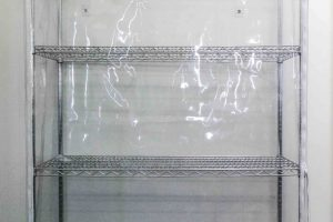 Dust Proof PVC Cover on Chrome Medical Shelving